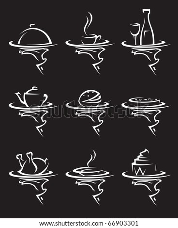 set of nine restaurants icons - stock vector