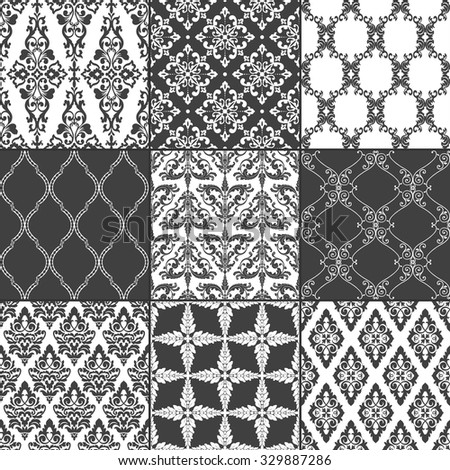 Set of nine seamless damask patterns. Classic black and white wallpapers. Vintage vector backgrounds. - stock vector
