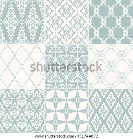 Set of nine seamless damask patterns. Classic wallpapers. Vintage vector backgrounds. - stock vector