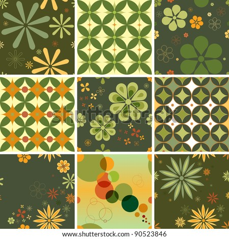 Set of nine seamless patterns in a retro style. You can repeat them endlessly. - stock vector