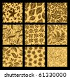 "Set of nine Seamless vector autumn patterns from leaves. Thanksgiving (from my big ""Seamless collection"") - stock vector"