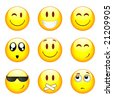 Set of nine smileys - stock vector