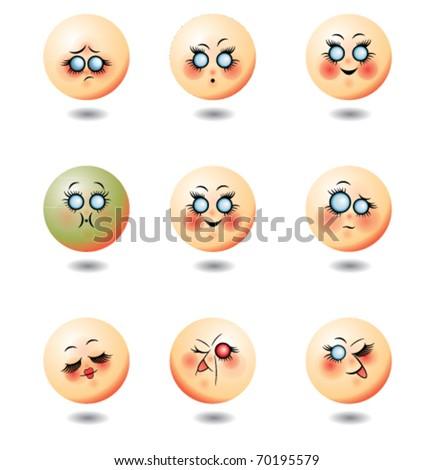 Set of nine smileys faces - stock vector