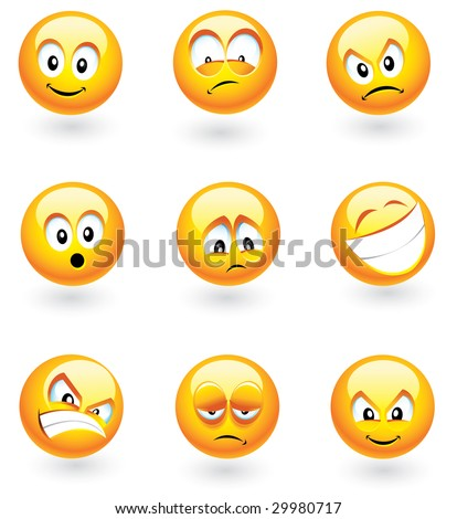 Set of nine smilies with different expressions - stock vector