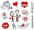 Set of nine Valentine vector illustrations, hand drawn style. - stock vector