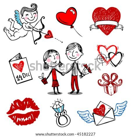 Set of nine Valentine vector illustrations, hand drawn style. - stock vector