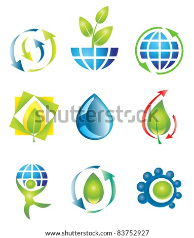 Set of nine vector design elements. Nature. - stock vector