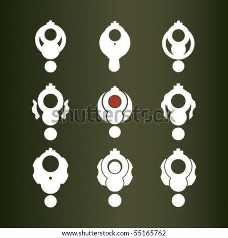 Set of nine vector icons (revolver). - stock vector
