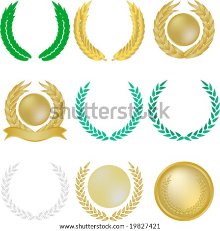Set of nine vector laurel wreaths and banners - stock vector
