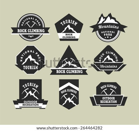 Set of nine vintage badges on the topic of tourism of different shapes in black and white colors - stock vector