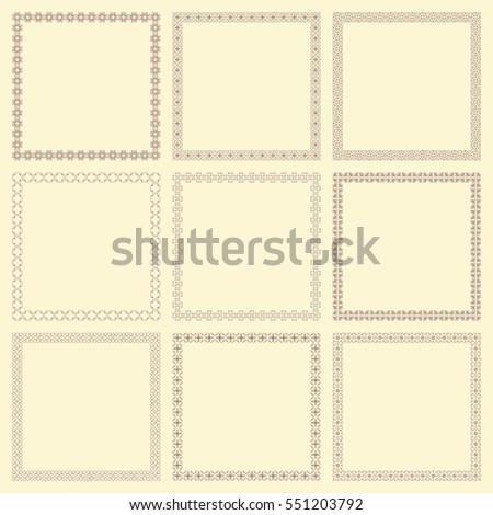 Set of nine vintage square frames. Vector image