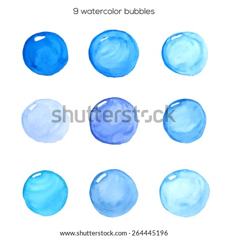 Set of nine watercolor bubbles. Vector EPS 10.
