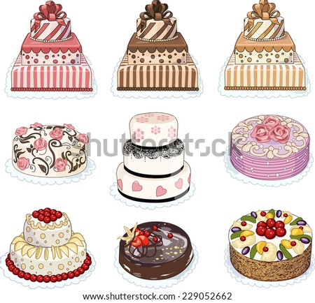 Set Of Nine Wedding Birthday Homemade And Exclusive Professional Cakes Decorated With Fruits Flowers