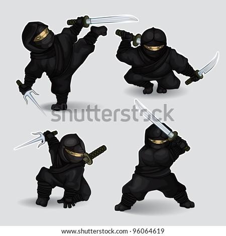 Set of ninja assassins - stock vector