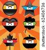 Set of 6 ninja emoticons - vector illustrations - stock vector