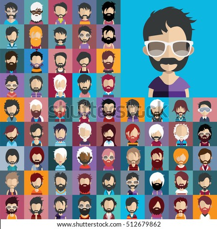 Set of no shave november people with ,hair, beard,mustache in flat style with faces. Vector women, men character.