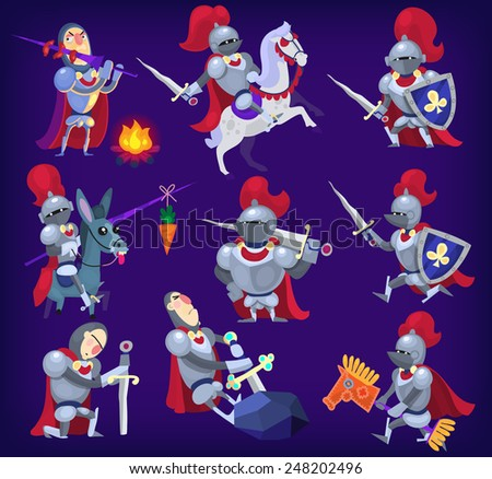 Set of noble knights in tricky situations. EPS10. - stock vector