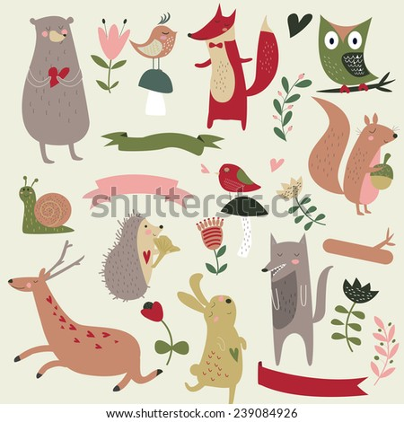 Set of north wood animals in cartoon style. Cute bear, fox, owl, birds, hare, wolf, snail, hedgehog, deer, squirrel and flowers. - stock vector