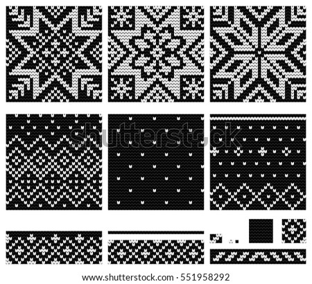 Set Norwegian Star Knitting Patterns Stock Vector Hd Royalty Free