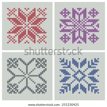 Set Norwegian Traditional Polestar Knitting Designs Stock Vector