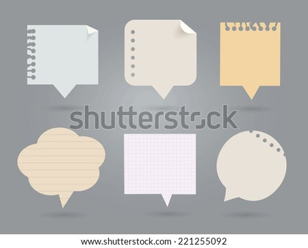 Set of note papers. Cloud's shape. Vector Illustration. - stock vector