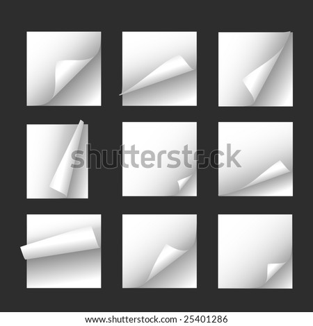 Set of note papers. Vector - stock vector