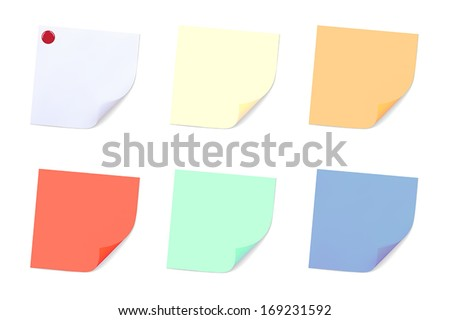 Set of Note Papers. Vector illustration - stock vector