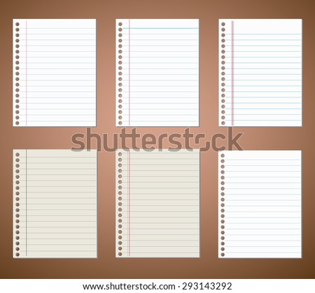 Set of notebook paper sheets - stock vector