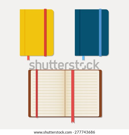 Set of notebooks in flat style with shadows. Vector illustration - stock vector