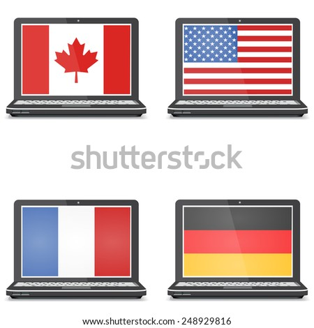 Set of notebooks with screensaver flag, America, Canada, Germany - stock vector