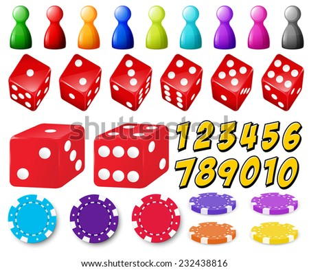 Set of number games with dice and coins - stock vector