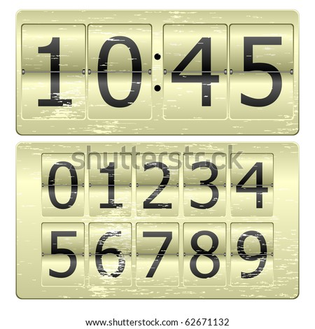 Set of numbers for use as a clock or counter - stock vector