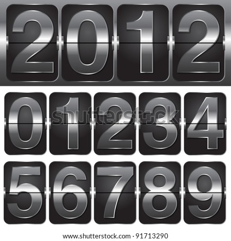Set of Numbers on Mechanical Timetable (EPS 10 File Version) - stock vector