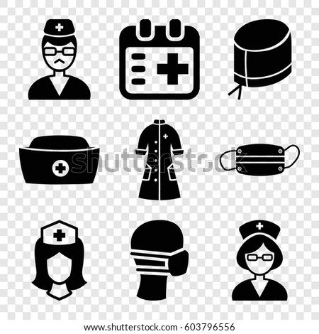 Set of 9 nurse filled icons such as medical mask, nurse, doctor