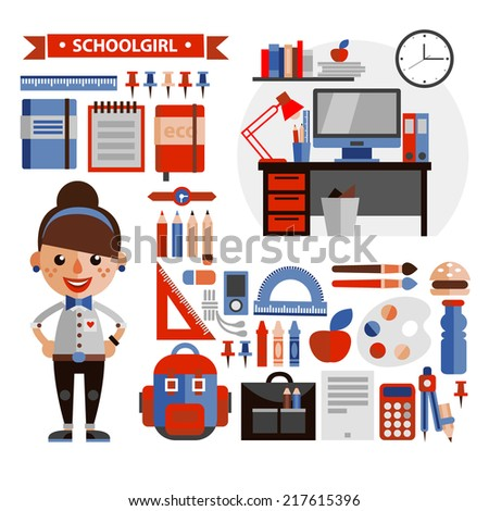Set of objects and character in a flat design on  education - stock vector