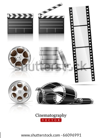 set of objects for cinematography clapper and film tape vector illustration isolated on white background - stock vector