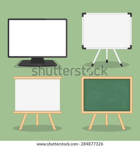 Set of objects for presentation - computer monitor, whiteboard and blackboard, flat design, vector eps10 illustration - stock vector