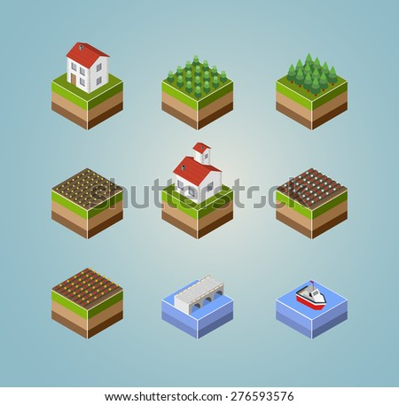 Set of objects isometric landscape countryside farm, harvest, and rivers. - stock vector