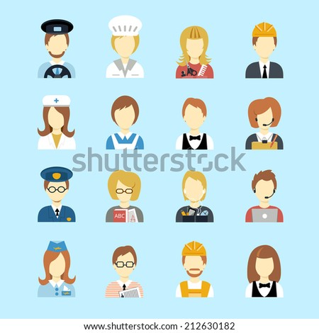 Set of occupations profession peoples avatar in flat color style vector illustration - stock vector