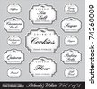 set (1 of 3) of ornate vector labels for food storage jars/containers of different sizes;   scalable and editable vector illustrations; 2 more sets with the same design in my portfolio; - stock vector