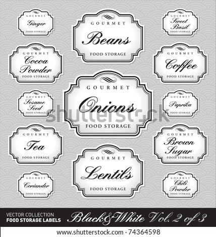 Set (3 of 3) of 13 ornate vector labels for kitchen jars/containers of different sizes. Elegant monochrome retro frames. Stylish monochrome elements for your design.