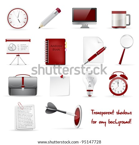 Set of office and business 3D glossy icons. Vector file. - stock vector