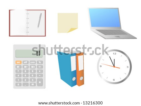 set of office business icon elements - stock vector