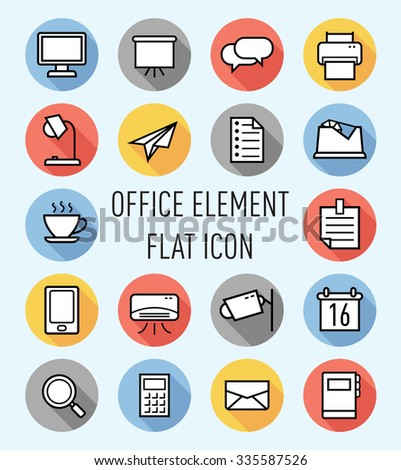 set of office element flat icon - stock vector