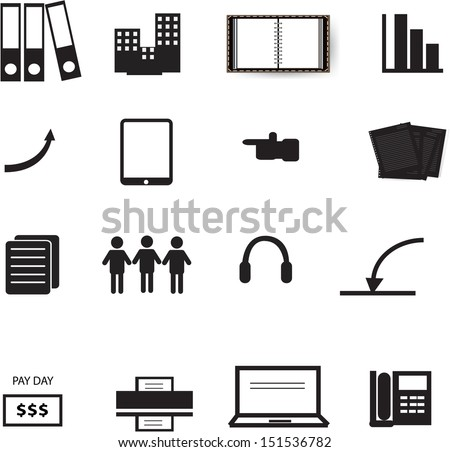 set of office icons in daily life - stock vector