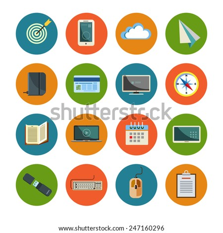 Set of office icons in flat design - stock vector