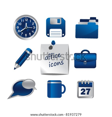 Set of office icons,vector. - stock vector