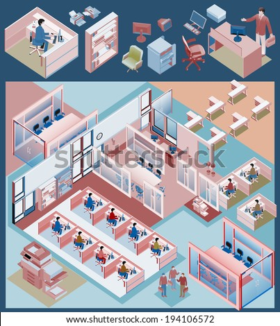 set of office isometric vector. managers, director, sales manager, waiting room, receptionist at reception, customer service, call center - stock vector