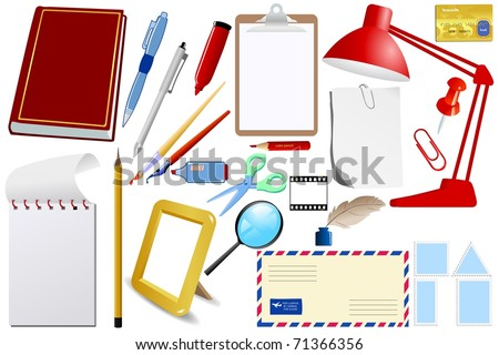 Set of office objects. Vector