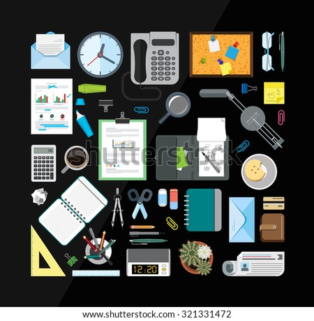 Set of office related items from top view. Collection of icons related to business, office and school. Flat design style.  - stock vector
